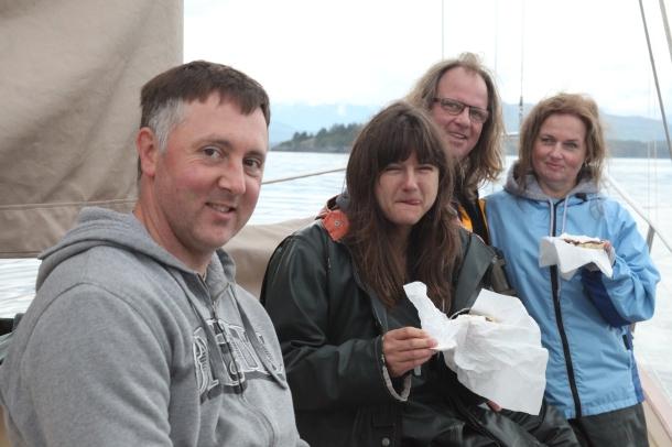 Passengers partaking of their Devonshire Tea