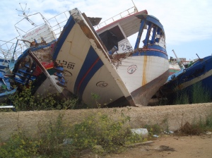 Abandoned boats off the shores of Sicily 2011.